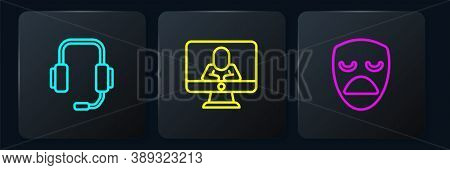 Set Line Psychologist Online, Drama Theatrical Mask And . Black Square Button. Vector