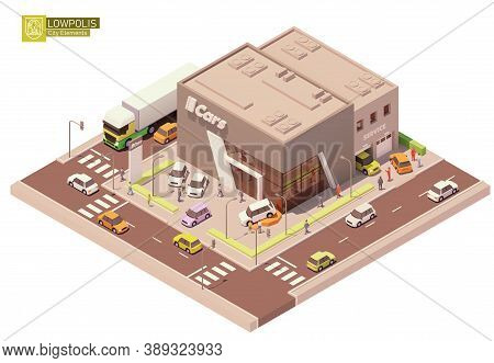 Vector Isometric Car Dealership Showroom And Service Station. New Cars On The Display And Test Drive