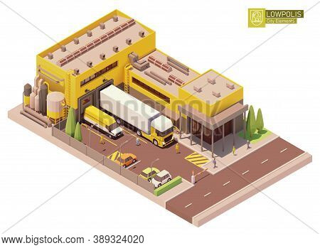 Vector Isometric Supermarket Building. Factory Or Plant Building Exterior. Industrial Facility. Offi