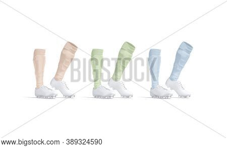 Blank White Soccer Boots With Colored Socks Mockup On Tiptoe, 3d Rendering. Empty Leather Shoes With