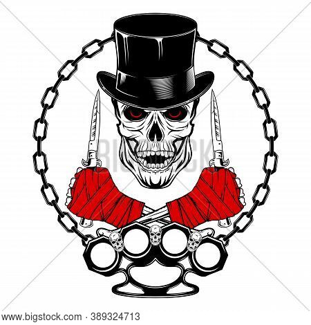 Skull Fighter In A Top Hat With Switchblades And Brass Knuckles. Youth Underground Culture. Old-scho