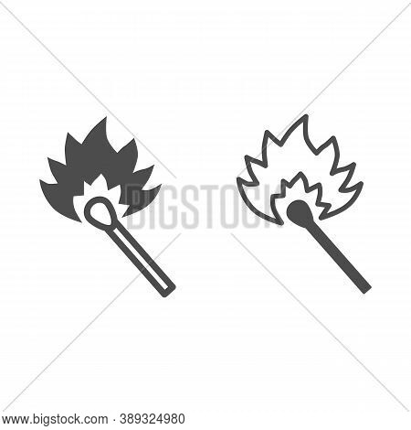 Burning Match Line And Solid Icon, Picnic Concept, Matchstick With Flame Sign On White Background, B