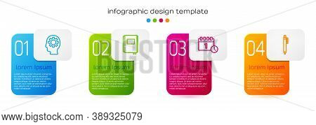 Set Line Head With Gear Inside, Book, Calendar First September Date And Pen. Business Infographic Te