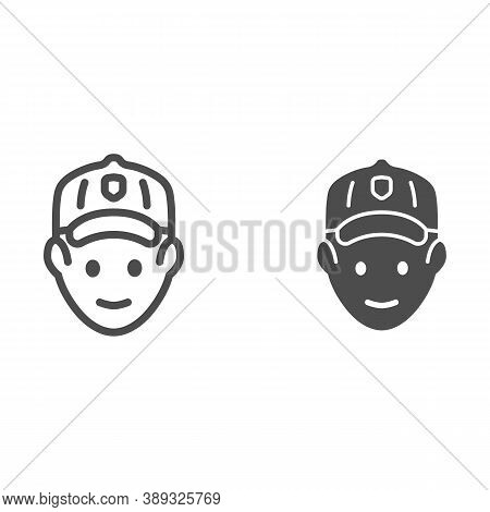 Golfer Head Line And Solid Icon, Outdoor Sports And Recreation Concept, Golf Player Avatar Sign On W