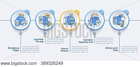 Excessive Social Media Use Vector Infographic Template. Boredom, Dopamine Level Presentation Design