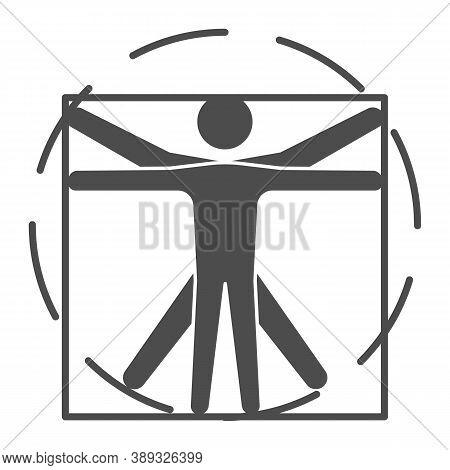Leonardo Da Vinci Vitruvian Man Solid Icon, Science Concept, Human Body In Circle And Square Sign On