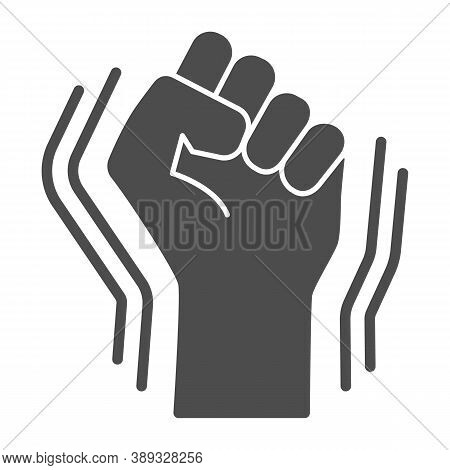 Raised Fist Gesture Solid Icon, Black Lives Matter Concept, Human Hand Up Blm Sign On White Backgrou