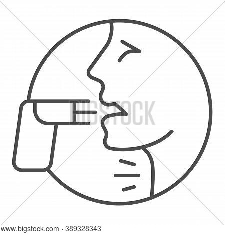 Face And Asthma Inhaler Thin Line Icon, Allergy Concept, Applying Inhalant Sign On White Background,