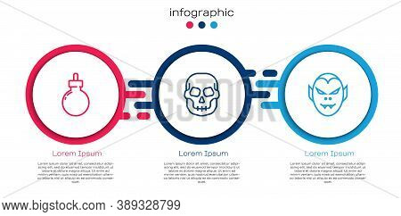 Set Line Bomb Ready To Explode, Skull And Vampire. Business Infographic Template. Vector