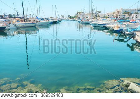 Yachts And Ships On The Background Of The Azure Sea, Copy Space - Tunisia, Sousse, El Kantaoui 06 19