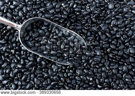 Black Bean On Background. Top View. Black Turtle Beans Are Good For Soup And Stew. Fresh Organic Nat