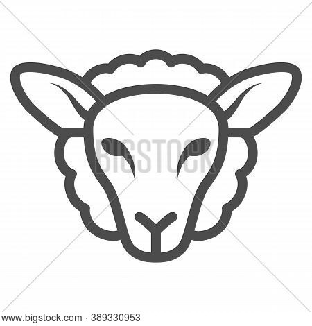Sheep Head Line Icon, Farm Animals Concept, Lamb Sign On White Background, Silhouette Of Sheep Face