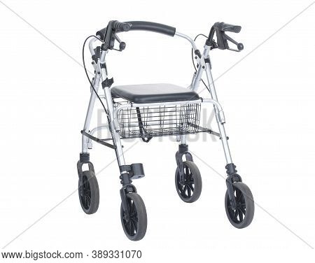 Rollator Walking Aid Frame With Four Wheels, A Seat And Handlebars
