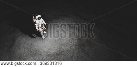 Astronaut doing space walk on Moon. Galactic exploration. 3D render