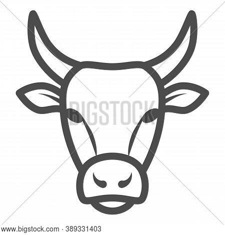 Bull Head Line Icon, Farm Animals Concept, Cattle Sign On White Background, Bull Head Silhouette Ico