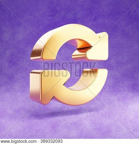 Sync Icon. Gold Glossy Sync Symbol Isolated On Violet Velvet Background. Modern Icon For Website, So