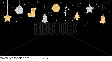 Christmas And New Year Banner With Glitter Golden And Silver Decoration. Holiday Background With Han