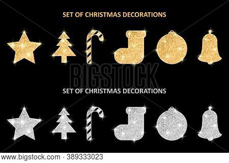 Glitter Covered Christmas Gold And Silver Decorations Set. Holiday Hanging Ornaments. Golden Glitter