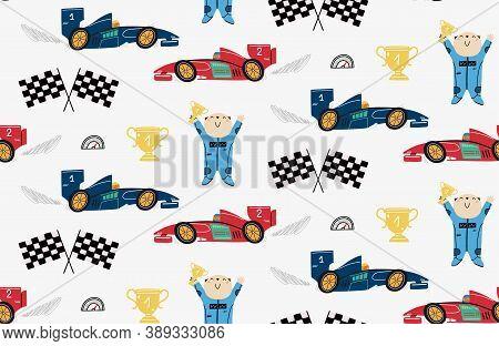 Seamless Pattern With A Cute Bear Racer, Race Cars, Winner Cup, Speedometer, Formula Flags. Children