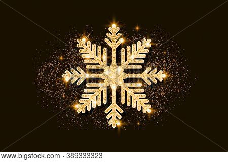 Gold Glitter Snowflake. Golden Glittering Christmas Decoration. Bright Glitters Covered Snowflake. V