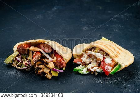 Set Burritos Wraps With Minced Beef And Vegetables, Burritos Wraps With Beef And Vegetables On Black
