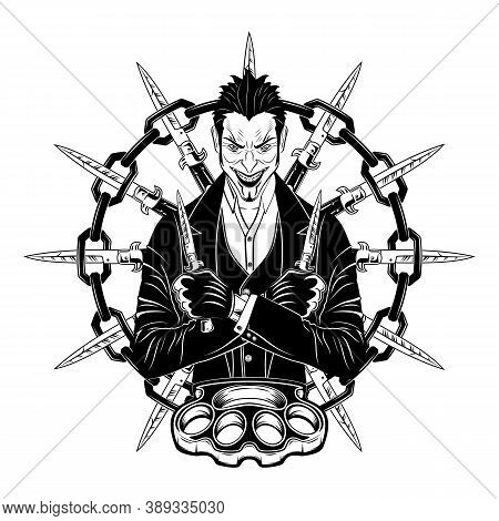 Smiling Joker With Knives And Brass Knuckles. A Villain With Switchblades. Evil Hero. Old-school Str