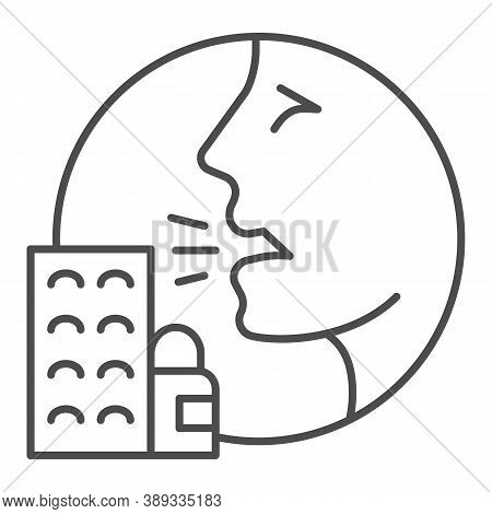 Person With Drugs Allergy Symptoms Thin Line Icon, Allergy Concept, Allergy To Medicines And Pills S