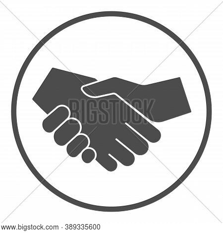 White And Black Handshake Solid Icon, Black Lives Matter Concept, Business Partners Greeting Sign On