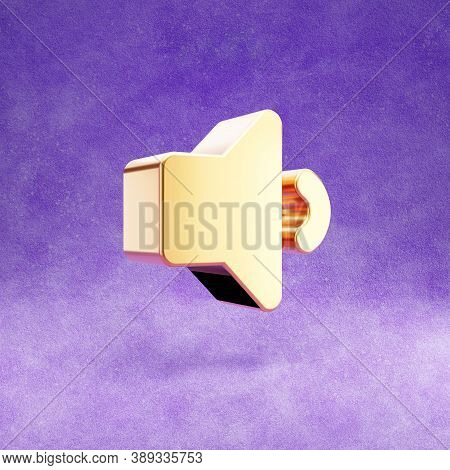 Volume Down Icon. Gold Glossy Volume Down Symbol Isolated On Violet Velvet Background. Modern Icon F