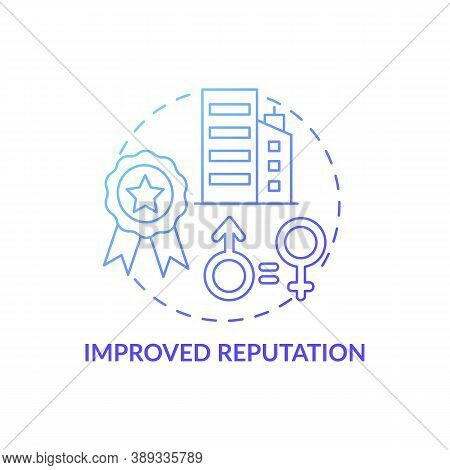 Improved Reputation Concept Icon. Gender Diversity Policy Benefits. Better Looking Cv. Working Place