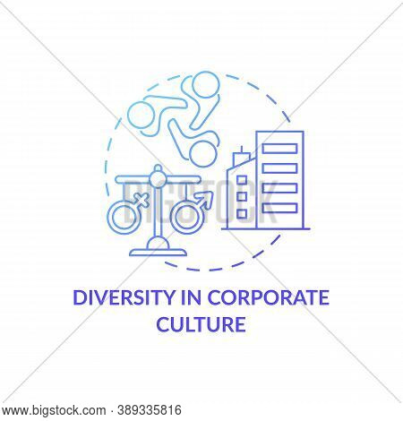 Diversity In Corporate Culture Concept Icon. Gender Diversity Implementation Tips. Same Rights For D