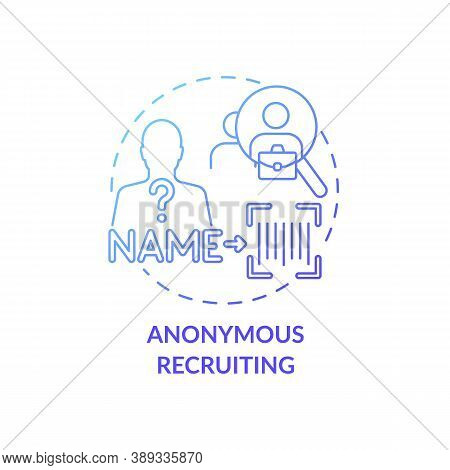 Anonymous Recruiting Concept Icon. Gender Diversity Implementation Tips. Job Getting Plan. Shadow Re