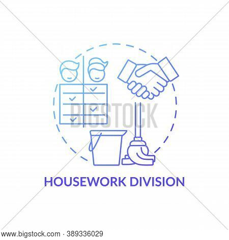 Housework Division Concept Icon. Changing Gender Roles. Family Duty Variety. Cleaning Couple Respons