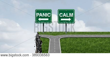 Panic And Calm Psychology Concept As A Concept For Staying In Control Or Panicking And Managing Stre