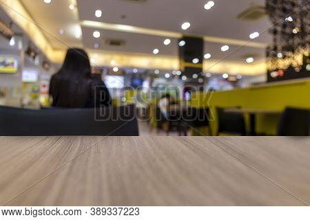 Blur Or Defocus Food Court In Shopping Mall Background. Blur Bokeh Shopping Mall Background. Blur De