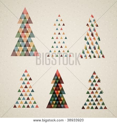 Collection of Vintage retro vector Christmas trees made from triangles