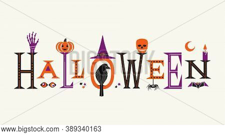 Halloween Fancy Letters Cute Symbol Set Isolated Vector Illustration. Happy Halloween Greeting Handd