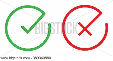 Green Tick And Red Cross. Round Checkmark Icon. Yes And No Symbol. Simple Thin Correct And Incorrect