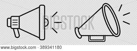 Megaphone Icon On Transparent Background. Loudspeaker Sign. Isolated Bullhorn Retro And Modern Icons