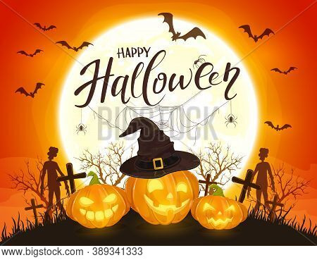 Pumpkins In Witch's Hat On Orange Halloween Background With Full Moon. Card With Jack O' Lanterns, B
