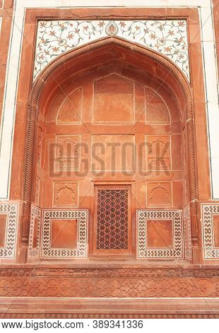 Exterior Detail Of Gate Area In Taj Mahal Complex. Agra, Uttar Pradesh, India