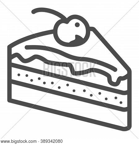 Piece Of Chocolate Cake Line Icon, Chocolate Festival Concept, Slice Of Cake Sign On White Backgroun