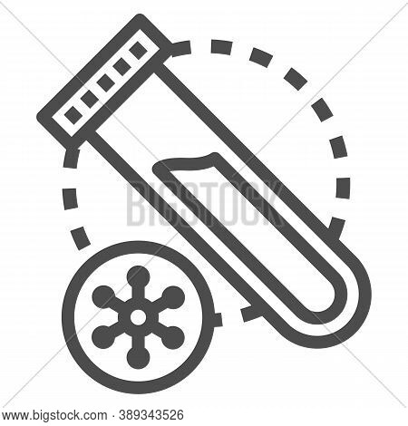Virus Sample For Analysis Line Icon, Medical Tests Concept, Plastic Test Tube With Blood Sign On Whi