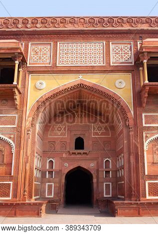 Exterior Detail Of Famous Red Fort In Agra, Uttar Pradesh State Of India