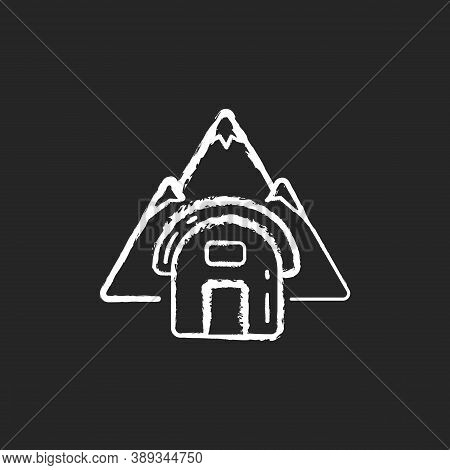 Bivouac Shelter Chalk White Icon On Black Background. Improvised Camp Site. Backpacking. Scouting. T