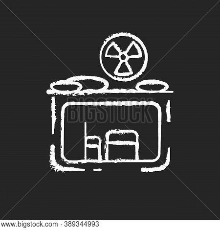 Fallout Shelter Chalk White Icon On Black Background. Nuclear Explosion. Protection From Radioactive