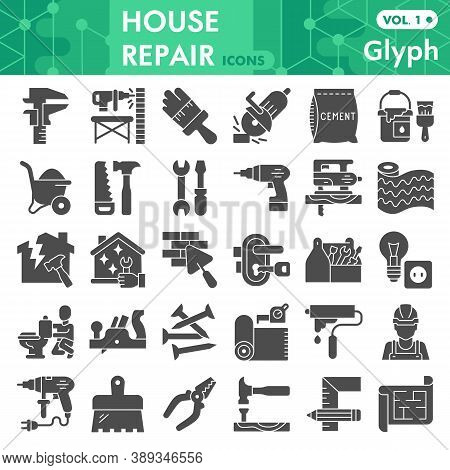 House Repair Solid Icon Set, Homebuilding And Renovating Symbols Collection Or Sketches. Constructio