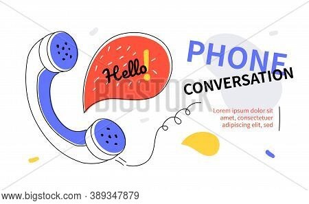 Phone Conversation - Modern Colorful Flat Design Style Web Banner
