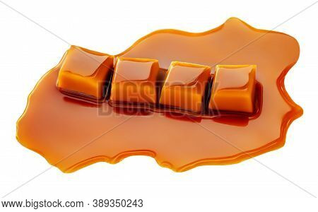 Four Square Pieces Toffee Caramel Close-up Isolated On White Background.  Caramel Candies With Sweet
