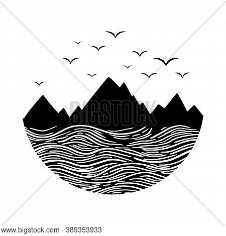 Mountain And Sea Black On White. Wanderlust Adventure Travel Circle Icon With Birds. Black Vector Il